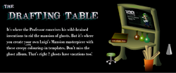 """A screenshot of the """"Drafting Table"""" activity from the Luigi's Mansion website"""
