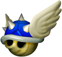 Mario Kart: Double Dash!! promotional artwork: A Spiny Shell, now with the capability of the wings