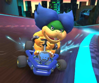 The icon of the Waluigi Cup challenge from the 2020 Trick Tour and the Lakitu Cup challenge from the Sydney Tour in Mario Kart Tour