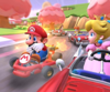 The icon of the Pink Gold Peach Cup challenge from the Peach Tour in Mario Kart Tour.