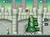 Fire Luigi fighting Monty Tank in World 6-Castle, from New Super Mario Bros.