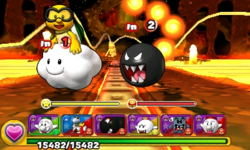 Screenshot of World 8-10, from Puzzle & Dragons: Super Mario Bros. Edition.