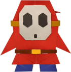 An origami Shy Guy from Paper Mario: The Origami King.