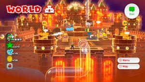 Hidden Luigi found on the World Castle map in Super Mario 3D World.
