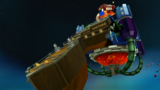 """A screenshot of Bowser Jr.'s Fiery Flotilla during the """"Gobblegut's Aching Belly"""" mission from Super Mario Galaxy 2."""