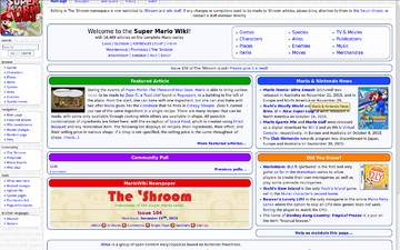 Front page of Super Mario Wiki, as of 3:12am GMT, 2 Dec 2015.