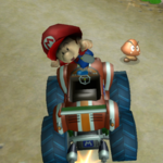 Baby Mario performing a Trick in Mario Kart Wii