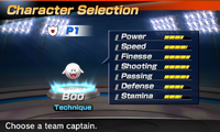 Boo's stats in the soccer portion of Mario Sports Superstars