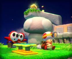 The illustration of Mushroom Mesa in Captain Toad: Treasure Tracker.