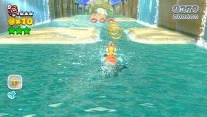 The hidden Luigi found in Plessie's Plunging Falls in Super Mario 3D World.
