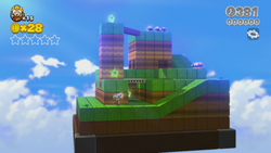 A block tower in the Captain Toad's Adventures level Captain Toad Goes Forth.