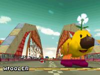 Mario preparing to battle against Wiggler.
