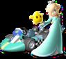 Artwork of Rosalina and Luma and their kart from Mario Kart Wii