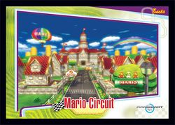 The Mario Circuit card from the Mario Kart Wii trading cards