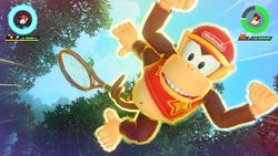 Diddy Kong performing his Special Shot, the Jungle Swing