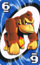 The Blue Six card from the Nintendo UNO deck (featuring Donkey Kong)