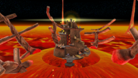"""A screenshot of Melty Molten Galaxy during """"The Sinking Lava Spire"""" mission from Super Mario Galaxy."""