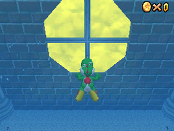 Yoshi swimming in The Secret Aquarium in Super Mario 64 DS.