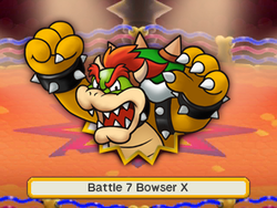 An artwork of the X boss before fighting it. In this case, it's Bowser.