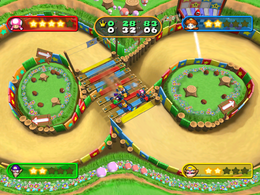 A roadblock of go-karts in Kart Wheeled from Mario Party 7