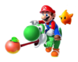 Super Mario Galaxy 2 promotional artwork: Co-Star Luma and Mario on Yoshi's back who is eating a berry