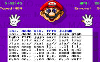 Gameplay of the fourth mode, Practice (Expert Express), in the MS-DOS version of Mario Teaches Typing