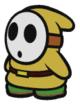 A yellow Shy Guy in Paper Mario: Color Splash.