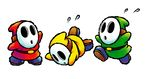 Artwork of three Shy Guys from Yoshi Topsy-Turvy (later reused in Yoshi's Island DS)