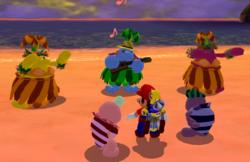 Doot-Doot Sisters in Sirena Beach in the game Super Mario Sunshine.