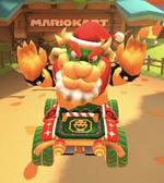 Bowser (Santa) performing a trick.