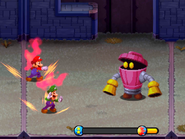 Mario and Luigi posing while under the Super Strike/KO effect in Mario & Luigi: Bowser's Inside Story and Mario & Luigi: Bowser's Inside Story + Bowser Jr.'s Journey