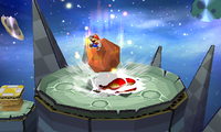 Paper Mario, jumping off his meteor during Trio Meteor.