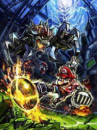 Mario Strikers Charged artwork of Mario facing Bowser.