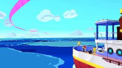 Mario on a boat in Paper Mario: The Origami King