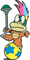 Lemmy Koopa in the Japanese Nintendo Official Guidebook of Super Mario Collection.
