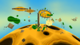 "A screenshot of Dusty Dune Galaxy during the ""Soaring on the Desert Winds"" mission from Super Mario Galaxy."