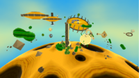 """A screenshot of Dusty Dune Galaxy during the """"Soaring on the Desert Winds"""" mission from Super Mario Galaxy."""
