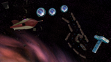 "A screenshot of Space Junk Galaxy during the ""Pull Star Path"" mission from Super Mario Galaxy."