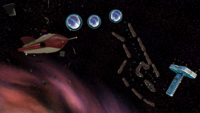 """A screenshot of Space Junk Galaxy during the """"Pull Star Path"""" mission from Super Mario Galaxy."""