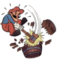 DK ColecoVision Mario Breaking Barrel Using Hammer Artwork.png