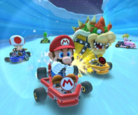 The icon of the Luigi Cup challenge from the 2020 Trick Tour and the Pink Gold Peach Cup challenge from the Snow Tour in Mario Kart Tour