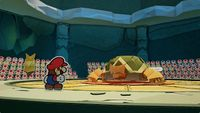 Mario faces off against the Earth Vellumental in Paper Mario: The Origami King
