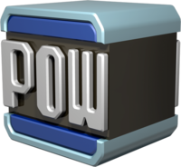 Artwork of a POW Block, from Mario Kart Wii.