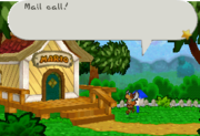 Mario Bros.' House as seen in the Paper Mario series with Parakarry delivering mail.