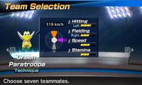 Green Paratroopa's stats in the baseball portion of Mario Sports Superstars