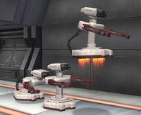 Three R.O.B. Sentries as they appear in Super Smash Bros. Brawl