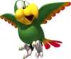 Artwork of Squawks the Parrot from Donkey Kong Country Returns