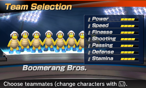 Boomerang Bros.' stats in the soccer portion of Mario Sports Superstars