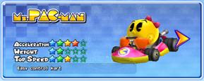 Ms. Pac-Man in a kart from Mario Kart Arcade GP 2