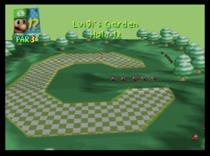 The twelfth hole of Luigi's Garden from Mario Golf (Nintendo 64)